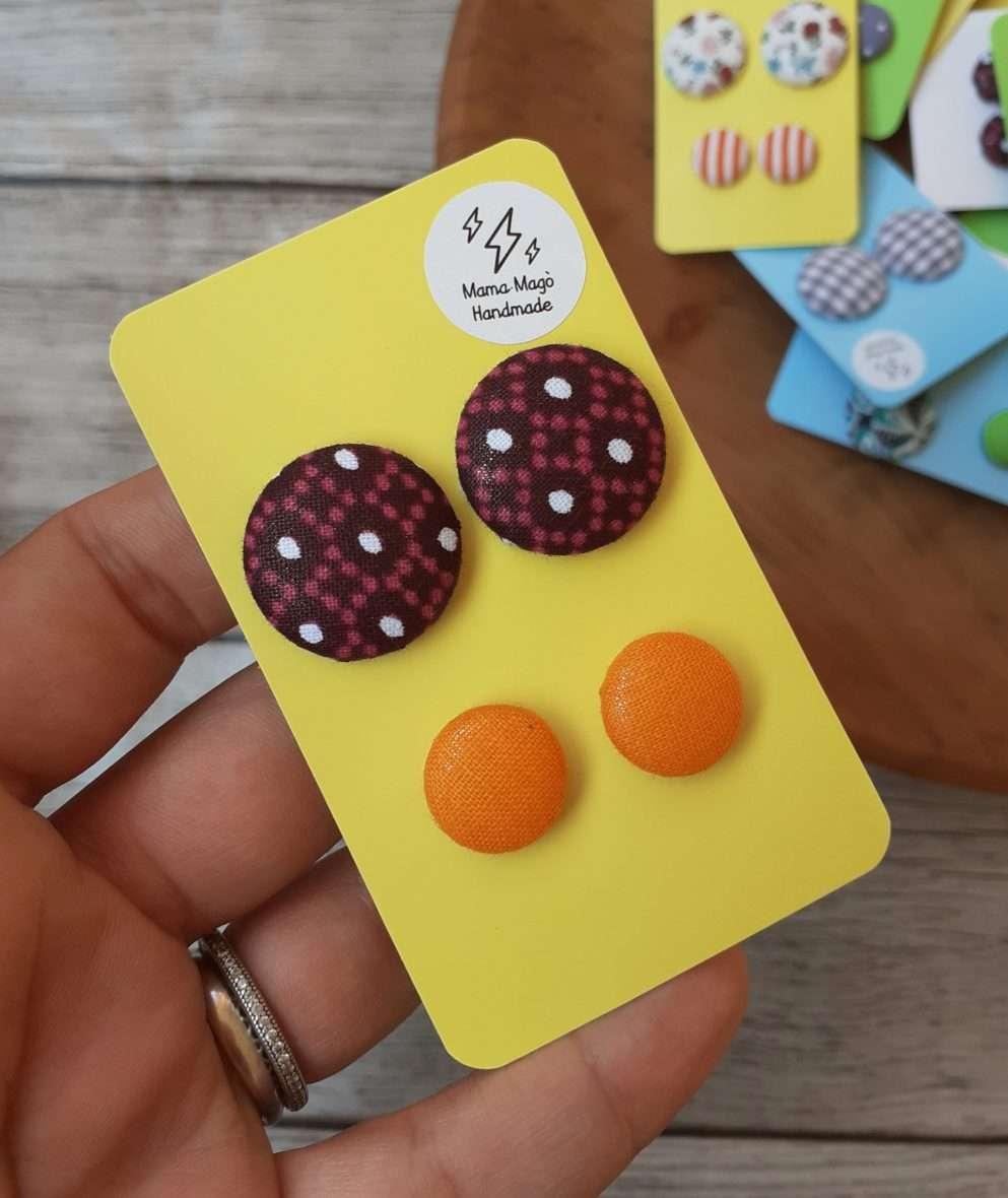 Orecchini a bottone – African wax e arancione