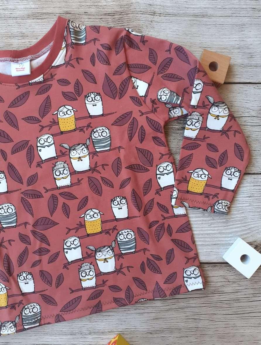 T-shirt manica lunga – Gufi sul ramo terracotta