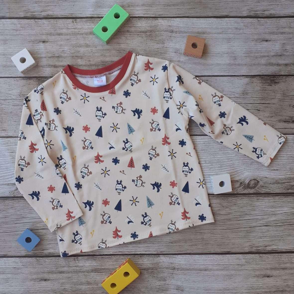 T-shirt manica lunga – Gufetti e alberelli base panna